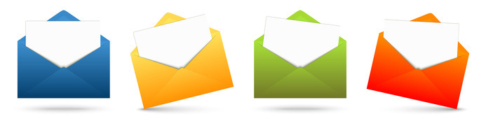 four colored envelopes in a row with white papers